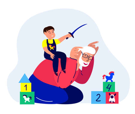 Happy Old Grandfather, Smiling Laughing Grandson Playing. Pensioner Grandad Riding Kid Boy. Boy Having Fun with Elderly Dad. Smiling Child. Cheerful Childhood Family Relatives. Flat Vector Illustration