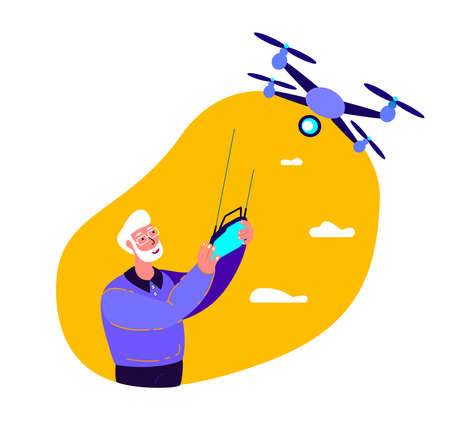 Retired Old Pensioner Man Flying Drone Equipment.Remotely Control Digital Device.Flying Robot.Engineering Mechanism Airscrew.Remotely Piloted Flying Aircraft.Development Experiment.Vector Illustration