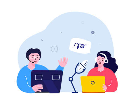 Online Blogging Podcast.Woman in Headphones Interviewing a Man Talking on Microphone.Media Discussion Radio Host.Laptop Internet. Blogger Podcaster, Broadcaster. Communication.Flat Vector Illustration.