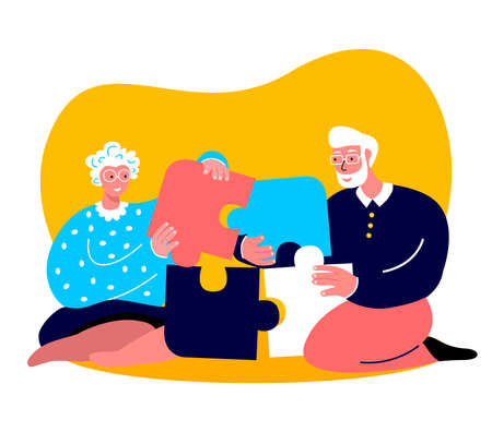 Elderly Happy Couple Woman, Grandmother Collect Puzzle Board Game.Intersted Man Husband.Family Have Fun Together.Loving People Stay Home.Spouses Anniversary Old Aged Pensioner. Flat Vector Illustration Vettoriali