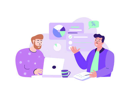 Business Team Managers CEO Brainstorming, Discussing Entrepreneurial Anti-Crisis Plan for Company. Efficiency Management Collaboration Business Concept.Successful Growth, Trade.Flat Vector Illustration