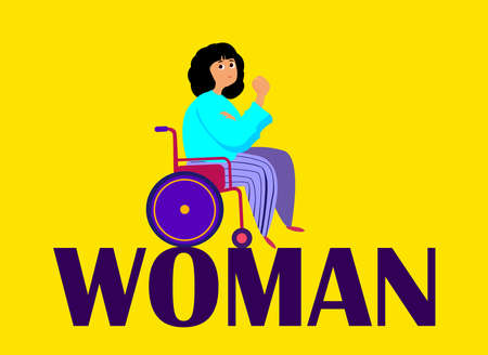 International Women Day Celebration.Feminism concept non Discrimination.Invalid Disabled Confident Girl with Poster.Eighth of March Congratulation.Woman Empowerment Motivation.Flat Vector Illustration