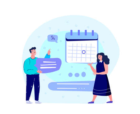 Business Team Man and Woman Workaholics Scheduling a Timetable with Laptop, Calendar.Efficiency Management Collaboration.Organising, Planning Business Concept.Successful Growth, Trade.Vector Illustration
