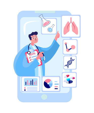 Doctor Scientist Virologist Researcher, Medical Face Mask with Tests.Telephone Digital Navigation.Online Help Service.Smartphone Hospital Treatment, Cure, Lungs Therapy.Laboratory Research.Illustration