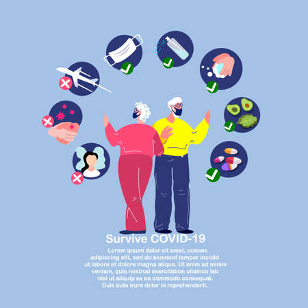 Novel Coronavirus 2019-nCoV, Elderly Pensioners Old Woman and Man in Medical Face Mask.Prevention Measures Protection Quarantine.Antiseptic, Disinfecting, Vitamin, Medicines, Drugs.Flat Vector illustration