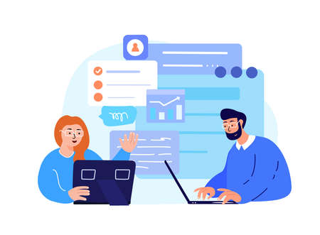 Business Team Brainstorming and Discussing Entrepreneurial Anti-Crisis Plan for Company.Collaboration Financial Benefit, Income, Profit.Business Concept.Successful Growth, Trade.Flat Vector Illustration
