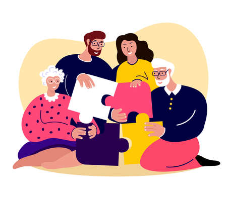 Happy Family Together Young Adult Couple Woman, Man, Mother, Father, Husband. Collecting Puzzle Board Game.Old Aged Pensioner Grandparents.People Stay Home.Grandmother, Grandfather.Flat Vector Illustration Vettoriali
