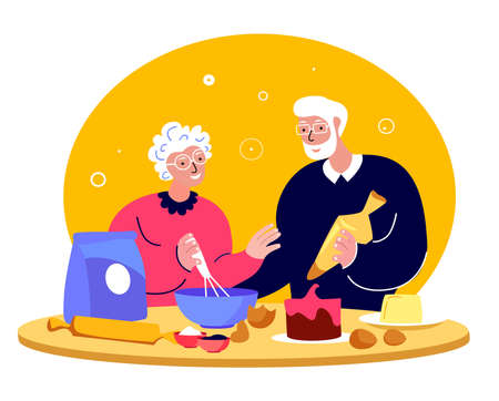 Elderly Happy Couple Woman, Grandmother Cooking Bakery Kitchen, Man Husband.Family Having Fun Together.Loving People Stay Home.Spouses Anniversary Old Aged Pensioner Cook Dinner.Flat Vector Illustration