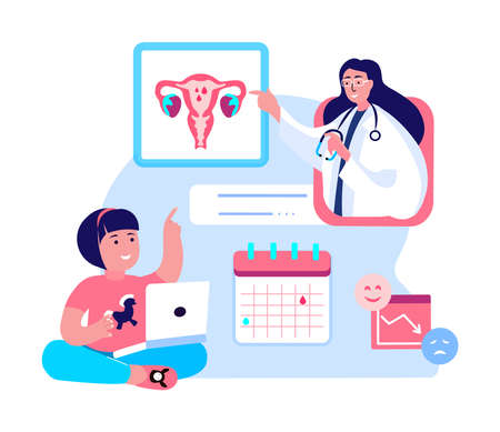 Gynecologist Doctor Consultate Girl.Puberty Maturation.Online Sex Education.Female Diagnostic.Uterus, Ovaries Organs.Internet Online Calendar Cycle.Menstruation Periods Marking.Flat Vector Illustration
