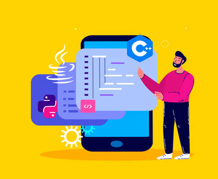 Man Programmer Working on Web Development in Virtual Program, Smartphone Mobile Phone.Script Coding, Programming php, python, javascript Artificial Languages. Software Developer. Flat Vector illustration Vektorové ilustrace
