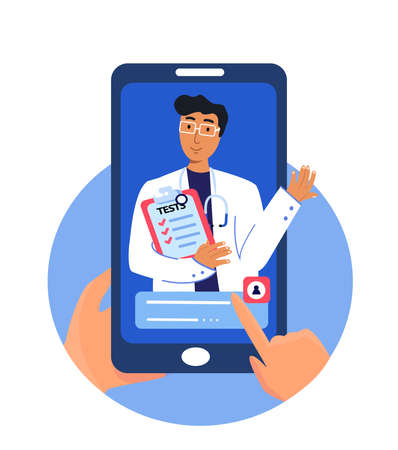 Online medicine mobile app concept. Smiling Male doctor on phone screen. Video conference with physician. Virtual Hospital healthcare service and internet telemedicine Flat vector illustration Poster