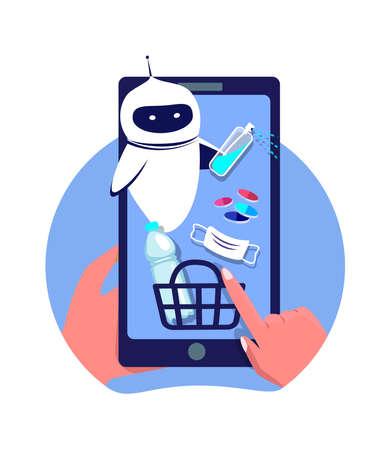Coronavirus Epidemic Quarantine.Shop Online, Chatbot Cyber Robot.Smartphone Mobile Application.Digital Pharmacy, Drugstore.Buy Mask, Antiseptic, Medicine, Drugs.Dialog help Service.Flat Vector Illustration