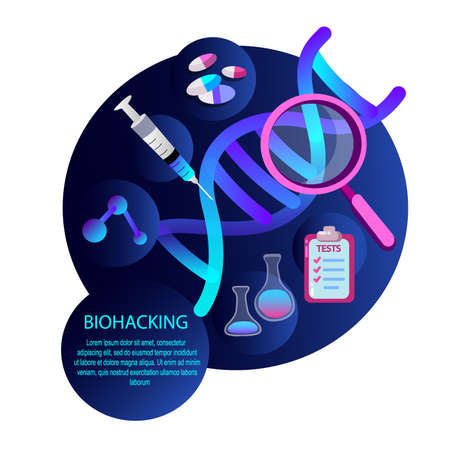 Biohacking Scientific Genetical Research Biological Analysis with magnifier, Injection Tests, Gene, DNA, Vitamins. Biological hacker ethic Anatomical AI monitors Organ wealth. Flat vector illustration