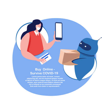 Coronavirus Epidemic Quarantine.Young Woman in Medical Face Mask Shopping Online, Chatbot Cyber Robot.Smartphone Mobile App.Buy Home, Receive Parcel, Delivery.Dialog help Service.Flat Vector Illustration
