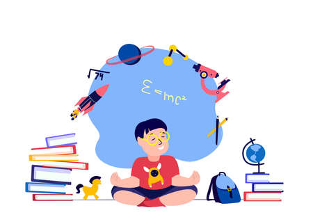 Pupil Child Boy Meditating, Claming Down, Relieve Stress.Studying, Getting Education.Lesson Tutorial Education. Teaching Process. Knowledge for Student.Study Homework, Schooling. Books Vector Illustration Vettoriali