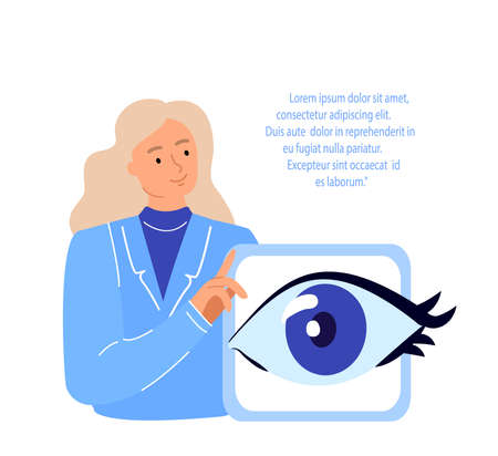 Doctors Ophthalmologist, Oculists Examine, Diagnose Eye Vision Acuity with Snellen Chart.Farsightedness, Color Blindness, Glaucoma Treatment.Research Clinical Investigation.Medical Council Illustration Ilustración de vector