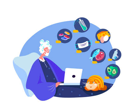 Coronavirus Epidemic Quarantine. Old Pensioner Woman Shop Online in Smartphone. Buy at Home, Receive Parcel, Delivery.Medical Face Mask, Antiseptic, Disinfecting. Survive COVID 19.Flat Vector Illustration