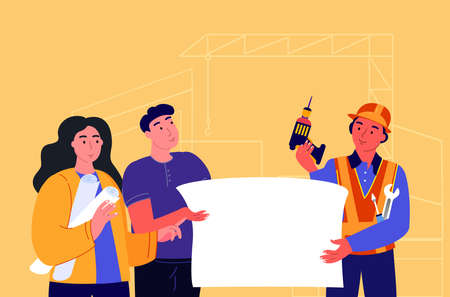 Builder showing and explaining Project building process to inspectors. Supervisor in hard hat at construction site. Foreman Discussing Building Project. Flat vector illustration of workers in helmets