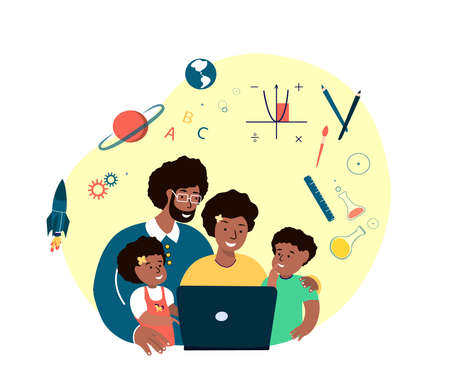 Online Education for Children. Parents, Mother, Father, Children Students Kid Study, Homework.Lesson in Laptop with Family.Digital Learning.Home Schooling.Pupil Study in Internet.Flat vector illustration