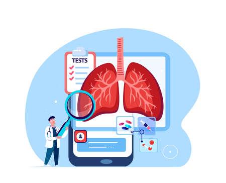 Online Doctor Pulmonologist Researcher Curing Lungs, Trachea, Bronchi, Analyze Respiratory System. Diagnostics Mobile App.Clinic Smartphone Medical Hospital.COVID, Pneumonia Treatment.Vector Illustration Ilustración de vector