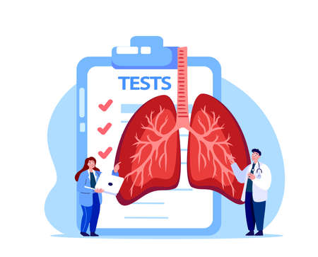Pulmonologist Virologist Scientist Doctor Examine Tests, Analysis, Magnetic Resonance Imagine.Lungs, Trachea, Bronchi Research.Labolatory Clinical Investigation.Lab Medical Council Diagnostic.Illustration