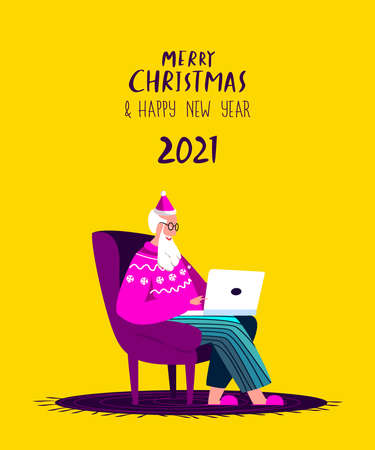 Santa Claus Sitting in Armchair with Laptop.Merry Christmas, Happy New Year. Serfing Internet, Chat Correspondance. Christmas Holiday.Writting Wish Letter. Yellow Cozy Home Xmas Atmosphere Illustration Vecteurs