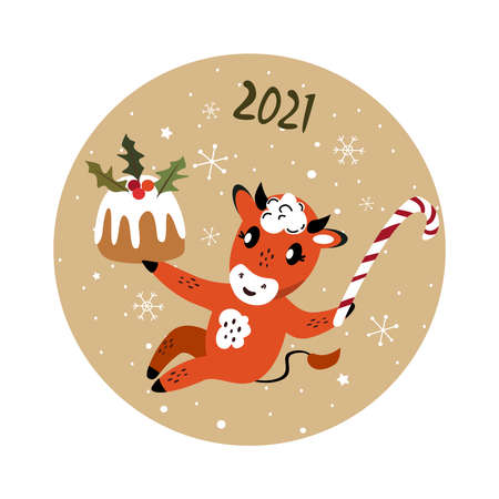 Christmas, Happy New Year Greeting Card.Cute Cartoon Bull with Biscuit Cake Stollen and Sweet Candy Cane.Cow 2021 Symbol.Holiday Winter Atmosphere.Festive Design.Calendar, Cards, Advertising Illustration