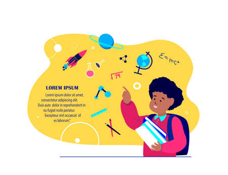 Pupil Child Boy Studying, Getting Education, Chancellery Elements, Lesson Tutorial Education. Teaching Process Coaching. Knowledge for Student.Study Homework, Schooling.Books Learning.Vector Illustration