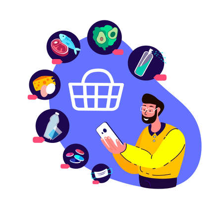 Coronavirus Epidemic Quarantine.Young Man Shop Online.Consumerism on Smartphone Mobile App.Buy at Home, Purchase Medical Face Mask, Antiseptic, Disinfector, Food.Survive COVID 19. Flat vector illustration
