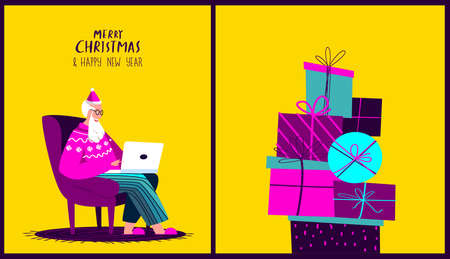 Santa Claus Sitting in Armchair with Laptop.Merry Christmas, Happy New Year.Prepare Boxes of Gifts, Presents for Children.Chatting Correspondance. Writting Wish Letter.Cosy Xmas Atmosphere Illustration Vecteurs