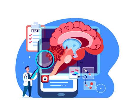 Doctor Neurosurgeon, Neurologist Scientist Examine Brain.Digital Treatment Benign Tumour.Magnetic Resonance Imaging.Research Trial.Clinical Investigation Clinic.Medical Council Diagnostics Illustration