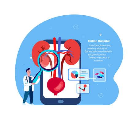 Online Diagnosctics.Doctor Nephrologist Diagnosing Kidneys, Bladder Nephros, Kidney, Renal.Internet Virtual Pain Management.Digital Consultation Medical Hospital Diagnostic, Treatment.Vector Illustration