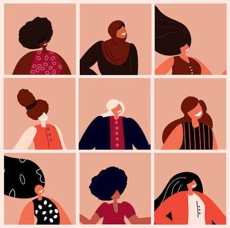 A Set of Beautiful Women with Different Beauty, Hair, Skin Color. Different Races and Nations. Diversity. Avatars. The Femininity Concept, Diversity, Independence, Rights Equality. Vector flat illustration