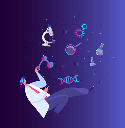 Virtual Reality Concept. Woman Researcher Analyze Scientific Concept. Genetic Biological Analysis, Magnifier, Microscope, Atom, Molecule DNA, flask tube.VR Headset.Future technology.Flat vector illustration
