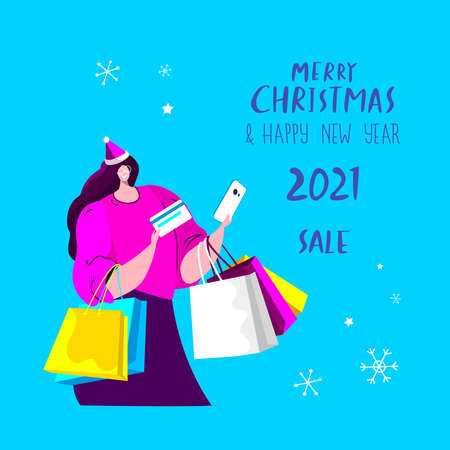 Merry Christmas and Happy New Year Shopping. Happy Adult Woman in Santa Claus Hat Buy Festive Purchases Presents Gift Package for Winter Holidays.Fairy Atmosphere of Xmas Sale Flat Vector Illustration