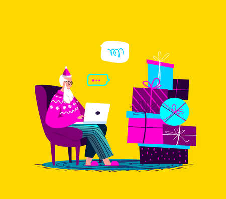 Santa Claus Sitting in Armchair with Laptop.Merry Christmas, Happy New Year.Prepare Boxes of Gifts, Presents for Children.Chatting Correspondance. Writting Wish Letter.Cosy Xmas Atmosphere Illustration