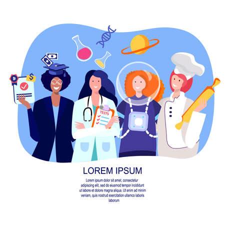 Feminism concept.Women in Costume of Lawyer, Financier, Astronaut, Doctor, Cook, Confectioner.Motivation poster.Feminine and Feminism ideas, Woman Empowerment.Cartoon Characters.Flat vector illustration.
