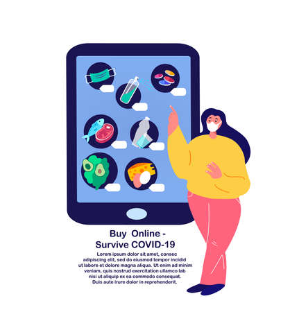 Coronavirus Epidemic Quarantine.Young Woman Shopping Online.Sale, Consumerism on Smartphone Mobile App.Buy at Home Medical Face Mask, Antiseptic, Disinfecting.Survive COVID 19. Flat vector illustration Ilustración de vector