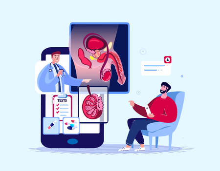 Online Urologist, Andrologist Doctor Consultate Patient. Male Reproductive, Urogenital System Organ Diagnostics Checkup. Internet Treatment. Digital Medical Hospital Diagnostics. Flat Vector Illustration