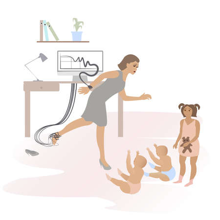 A woman occupied by her work cant touch her children. Flat vector illustration