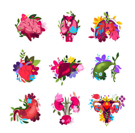 Beautiful Flowered Set of different Human Organs.Brain, Thyroid, Lungs, Heart, Liver, Stomach, Kidneys, Uterus in Flowers.Floral Internal Anatomy.Bright Healthy Guts, Flower Nature.Bloomy Vector illustration