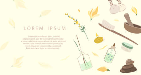 Spa Welness Center Advertising banner, Sale poster.Herbal Treatment Concept Leaflet.Face, Body Creams, Lotions Broadsheet. Skin care for health, wellbeing, beauty salon. Flat vector illustration isolated
