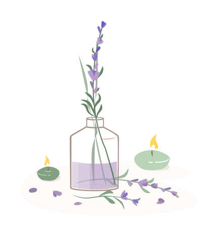 Aromatherapy Lavender Concept.Natural wellness Spa set, organic, aromatherapy, essential oil lavender Fragrant extract Aroma Stick, candles and herbs. Health and self-care concept. Vector Illustration.