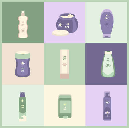 Tubes and Bottles of Sunscreen Products Sunblocks with different SPF level Protection.Set of anti-UV Cream, Lotion, Fluide, Spray and Stick for Healthy Sunbathing and Tan.Colored flat vector illustration 矢量图片