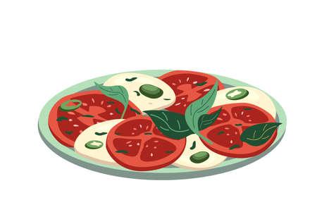 Caprese salad,Mozzarella Cheese,sliced tomatoes,basil,oregano spice isolated on white background. Healthy vegetarian mediterranean food.Vector illustration for postcard,banner,poster, web design, menu
