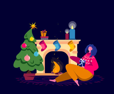 Festive Woman Celebrate New Year and Christmas Holidays Opening Gifts and Presents. Girl Sitting at the warm cozy Fireplace Decorated with bright colored Stockings. Cartoon Flat Vector Illustration