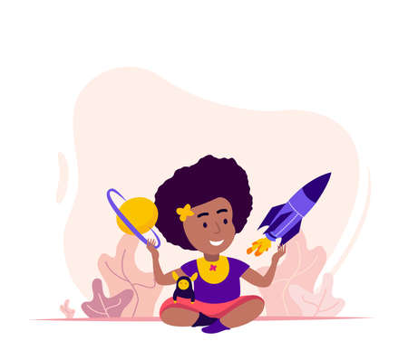 International Women Day.Little African Girl play with Rocket, Space Planet and Dream to become Powerfull Lady Astronaut.Feminism Motivation.Woman Empowerment.Confident Choice.Flat Vector Illustration