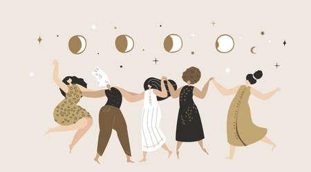 Female Astrological Festival Space. Women Astrologers Dancing under Moon Phases. Ritual dance together. Feminine, Female Empowerment Energy. Flyer Flat Vector Illustration