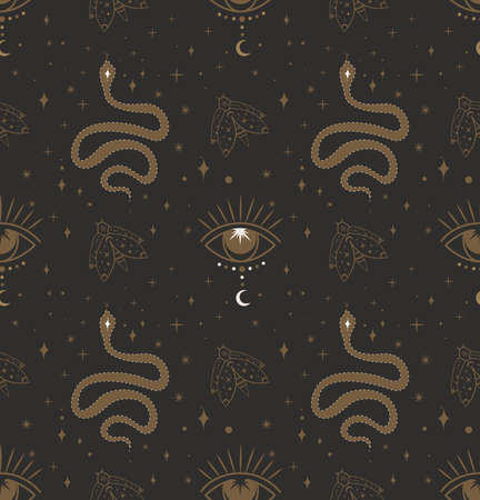 Seamless Pattern with Mysterious Reptile Snake, Fly and All-seeing Eye in boho style.Esoteric Symbols.Wicca, pagan, Buddhism Design.Endless Background template.Flat Vector Illustration, black background
