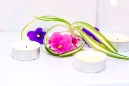Aromatherapy, aroma candles. Relaxation and satisfaction. 版權商用圖片